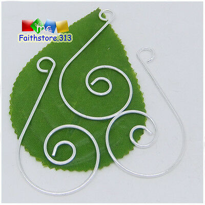 50 pcs Silver Plated Swirl Scroll Christmas Ornament Hooks Hangers 30x55mm P302