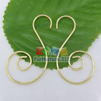 100 pcs Gold Plated Swirl Scroll Wire Christmas Tree Ornament Hooks Hanger 1.45""