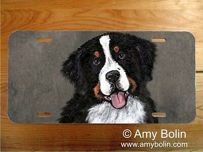Bernese Mountain Dog  aluminum LICENSE PLATE by Amy Bolin MERLIN