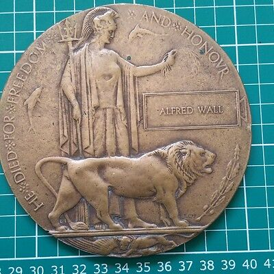 WW1 Memorial Plaque - ALFRED WALL Multiple Possibilities