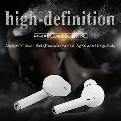 Stereo Handsfree Wireless Bluetooth Headset Earphone Earbud for iPhone Samsung