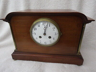 Antique French Japy Freres Mahogany Striking Mantel Clock For Light Tlc