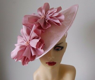 Pale Pink Saucer Fascinator With Satin Flowers  No Return Or Refund