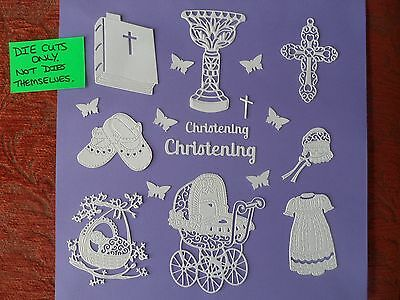 Christening Themed Die Cuts,(D51),pram,bible,cross,font,shoes,christening Gown
