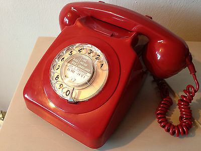 VINTAGE BT / GPO  ROTARY DIAL TELEPHONE * RED - FULLY  Tested / Working * Phone