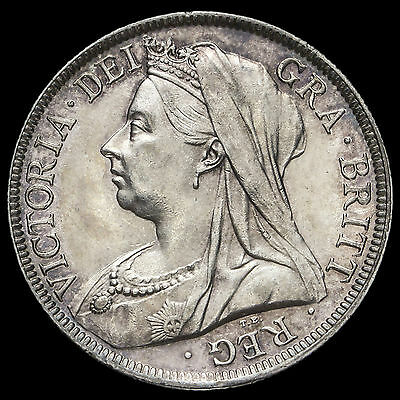 1895 Queen Victoria Veiled Head Silver Half Crown, A/UNC