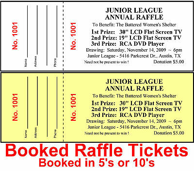 1500 RAFFLE TICKETS DRAWING CUSTOM Printed Stapled Booked Fundraiser