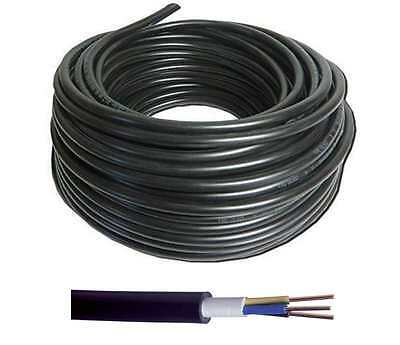 NYY-J Hi-Tuff Outdoor Black 3 Core PVC Cable Ponds Lighting 1.5mm 2.5mm 4mm 6mm