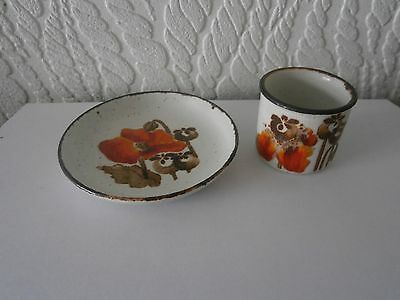 EVE MIDWINTER DESIGN - STONEHENGE AUTUMN - POPPIES - COASTER & EGG CUP 1970s