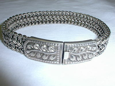 Stunning! Bold Sterling Interwoven Bracelet With Floral Center-35+ Grams!