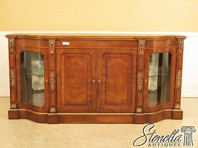 28809E: HENREDON French Style Sideboard Credenza w. Curio Sides