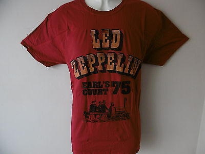"*new Official* Led Zeppelin Earl's Court 1975 Mens Red T Shirt Size L 42"" Chest"