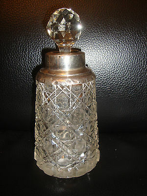 1900s English Cut Glass Perfume Scent Bottle Solid Silver Collar London Letter O