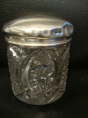 1900s English Cut Glass Rouge Powder Pot Solid Silver Lid London Letter h