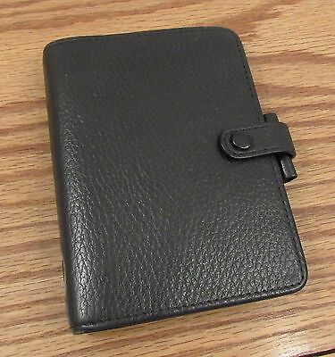 "Vintage Filofax Pocket Richmond black leather organizer 6 ring 4""x5.5"""