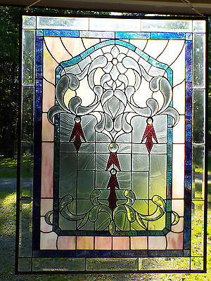 """Vintage Large Beveled Stained Leaded Glass Window Vitraux Panel 27"""" x 36"""""""