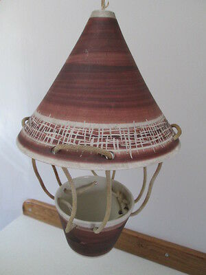 VINTAGE 1970s JERSEY POTTERY HANGING PLANTER-SUSPENDED PLANT POT.