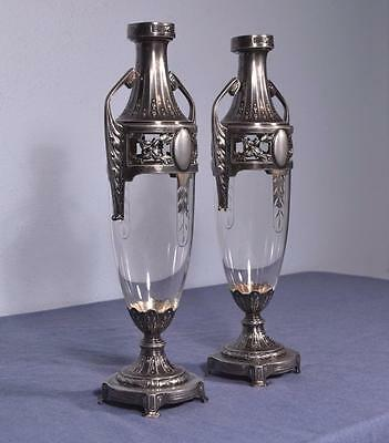 *Vintage Pair of Silver Plated Art Deco French Urns with Cut glass