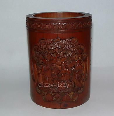 Stunning Antique Chinese Brush Pot Bamboo Wood Deeply Carved Figure Calligraphy