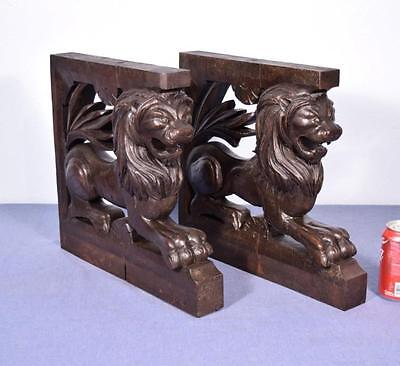 *French Antique Solid Oak Wood Statues/Pedestals w/Lions Highly Carved Salvage