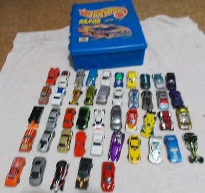 Lot of 45 Hot Wheels Diecast Cars with 48 Car Hot Wheels Case