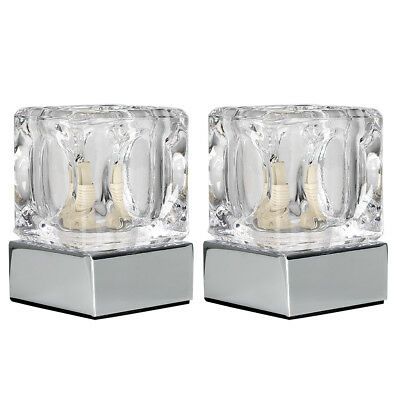 Pair of Modern Silver Chrome  Glass Ice Cube Touch Bedside Table Lamps Lights