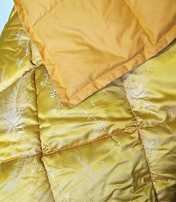 EIDERDOWN Yellow brocade VINTAGE Single bed FEATHER QUILT 'Kimpton's Eiderlite'