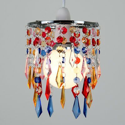 Modern Chrome / Multi Coloured Ceiling Pendant Light Lamp Shade Jewel Chandelier