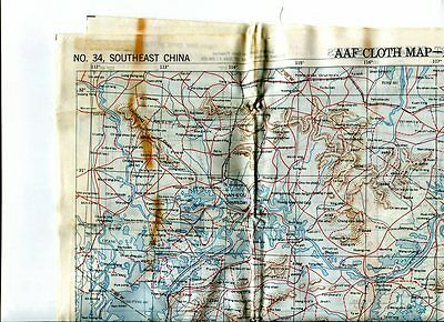 """A. A. F. ---Military Silk  Map  """"asiatic Series""""  """"luzon"""" """" Southeast China  Ww2"""