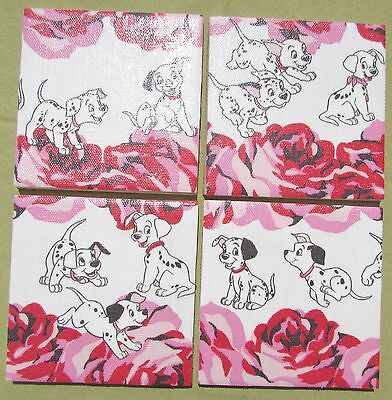 Cath Kidston Set Of 4 Ceramic Coasters 'dalmation Puppies & Roses'  Ltd Edition