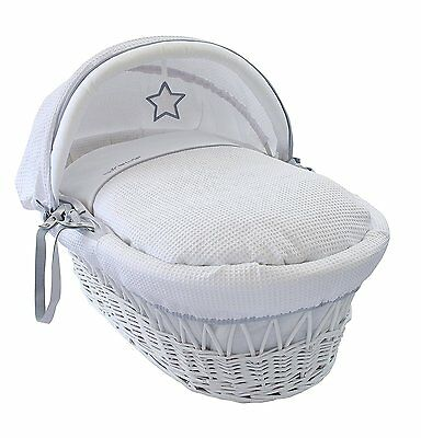 NEW Clair de Lune White Wicker Moses Basket Removalable Dressing - Silver Lining