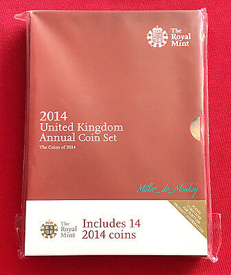 2014 UK ANNUAL COIN SET - 14 Brilliant Uncirculated Coins In A Royal Mint Folder