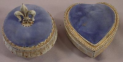 Vintage Florenza Fleur de Lis & Heart Shaped  Trinket  Box/ Pin Cushion  40s