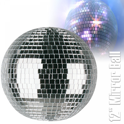 "UKDJ Lightweight Silver Mirror Dance Disco Party DJ Ball 300mm 12"" Mirrorball"