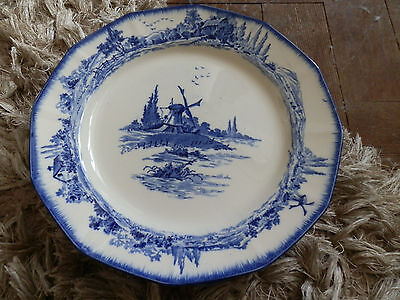 "6 x Pretty Royal Doulton Norfolk Blue & White Dinner Plates, D6294, 10 1/4"" - B"