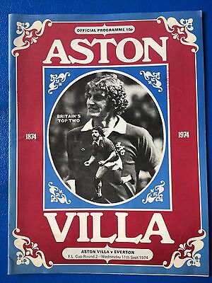 """LEAGUE CUP 2nd ROUND """"ASTON VILLA VS EVERTON"""" WED 11th SEP 1974 PROGRAMME"""