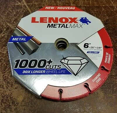 "LENOX 1972923 6"" Metalmax Diamond Steel-Cutting Cut-off Wheel"