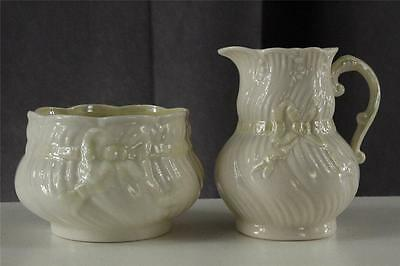 Belleek Irish China New Shell Cream Bow Embossed Design Creamer & Sugar Set