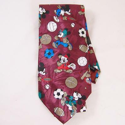 Disney Mickey Unlimited Sports Neck Tie Soccer Football Tennis Mouse Maroon Red