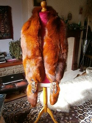 """Amazing vtg HUGE 88"""" RED FOX fur beaded stole with tails & matching hat, MINT!"""