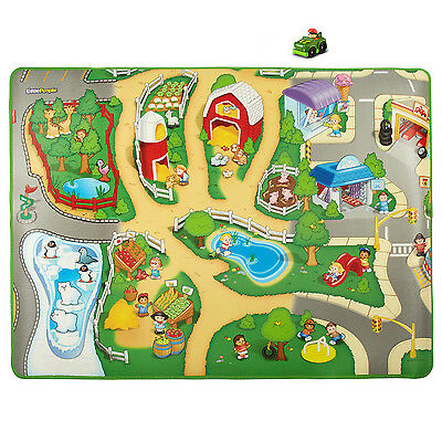 Fisher-Price Little People Play Foam and Plastic Mat with 1 Green Vehicles