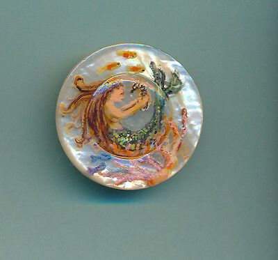 Large Mermaid Hand Painted Pearl Studio Button 71K