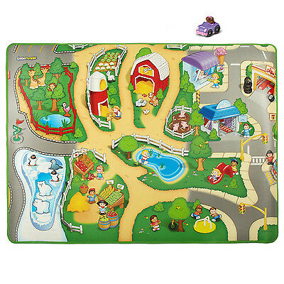 Fisher-Price Little People Play Foam and Plastic Mat with 1 Purple Vehicles