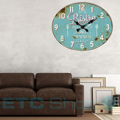 Vintage Quartz Wall Clock Kitchen Time Display light blue Bistro Imprint