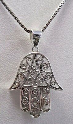 Sterling Silver Hamsa Pendant / Necklace On A Sterling Box Link Chain