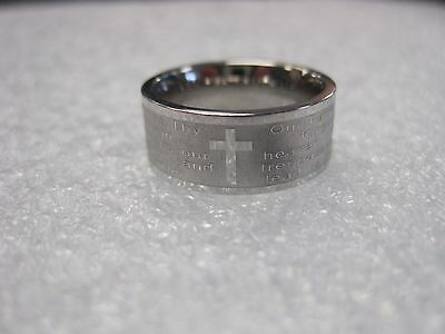 Awesome Unisex Stainless Steel Ring With A Cross And The Lord's Prayer