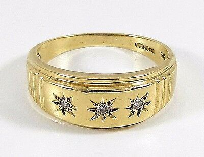 Vintage Mens 9ct Gold 3 Stone Gypsy Ring