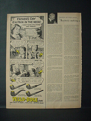 1952 Yello-Bole Pipes Great Father's Day Gift Vintage Print Ad 11192