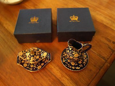 2 x New Boxed Old Tupton Ware OTW Mini Range Royal Blue with Gold Paintwork