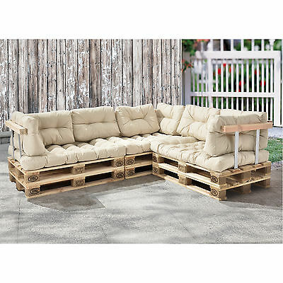 [en.casa] Euro Pallets Sofa Pillow Beige Corner Sofa with Pallets Pads Backrest